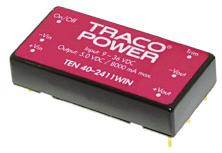 TRACOPOWER TEN 40WIN 40W Isolated DC-DC Converter Through Hole, Voltage in 18 → 75 V dc, Voltage out 5V dc