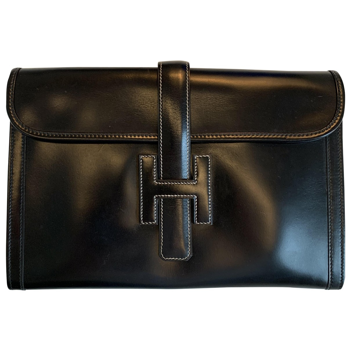 Hermès Jige Black Leather Clutch bag for Women \N