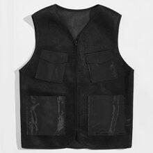 Men Patched Pocket Front Mesh Vest Jacket