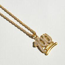 Halskette mit Strass und Nummer Anhaenger