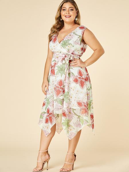 YOINS Plus Size White Floral Print V-neck Dress