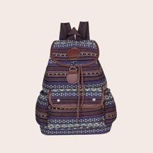 Tribal Pattern Flap Backpack