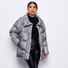 Zip Up Snakeskin Puffer Coat