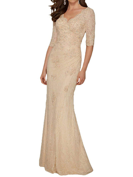 Milanoo Vestido de madre con cuello en v medias mangas Vestidos de invitados de boda plisados de sirena con tren