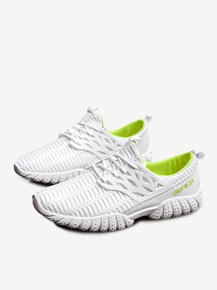 Men Breathable Mesh Fabric Lace Up Casual Running Sneakers