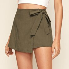 Solid Self-Tie High-Rise Skorts