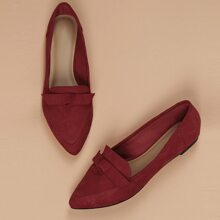 Bow Accent Pointy Toe Slip On Loafer Flats