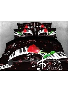 Dancing Piano Keyboards and Red Rose 4-Piece 3D Bedding Sets/Duvet Covers
