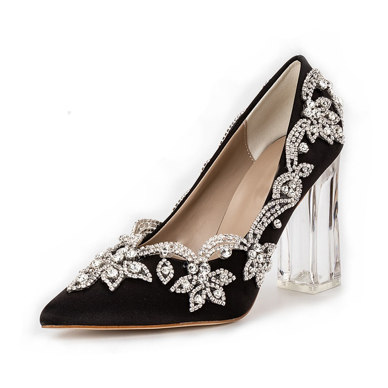 Ericdress Rhinestone Pointed Toe Chunky Heel Banquet Thin Shoes