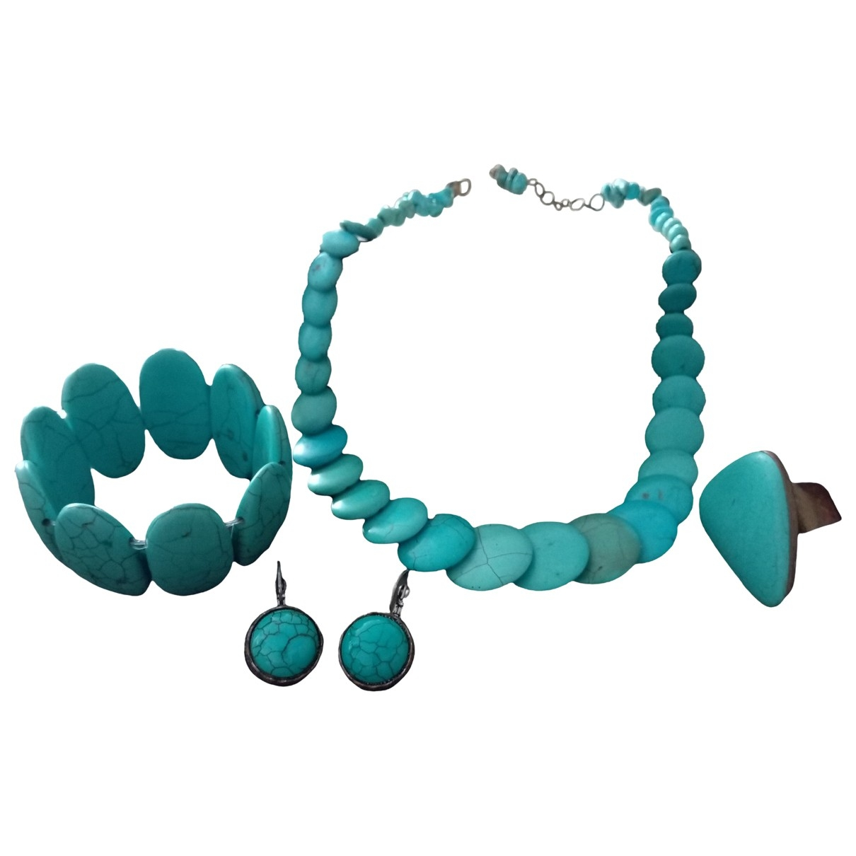 Non Signe / Unsigned Turquoises Schmuck-set in  Tuerkis Perlen
