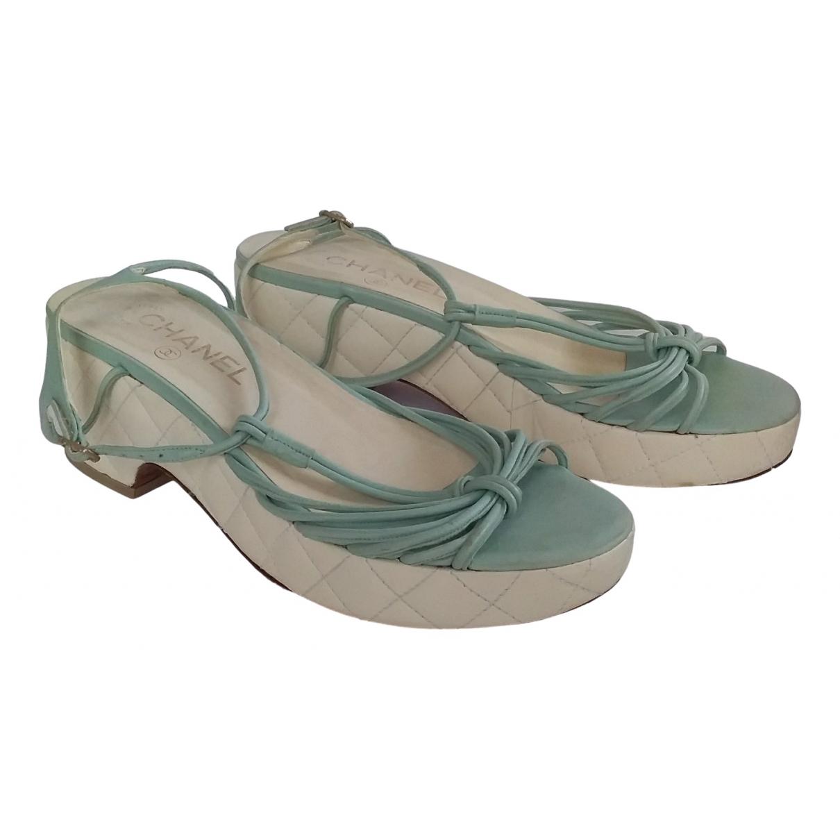 Chanel - Sandales   pour femme en cuir - turquoise