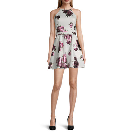 City Triangle-Juniors Sleeveless Floral Fit & Flare Dress, 15 , White