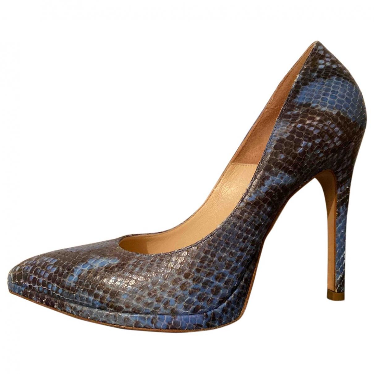 - Escarpins   pour femme en python - bleu