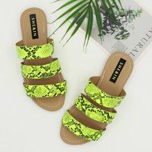 Open Toe Snakeskin Graphic Slide Sandals