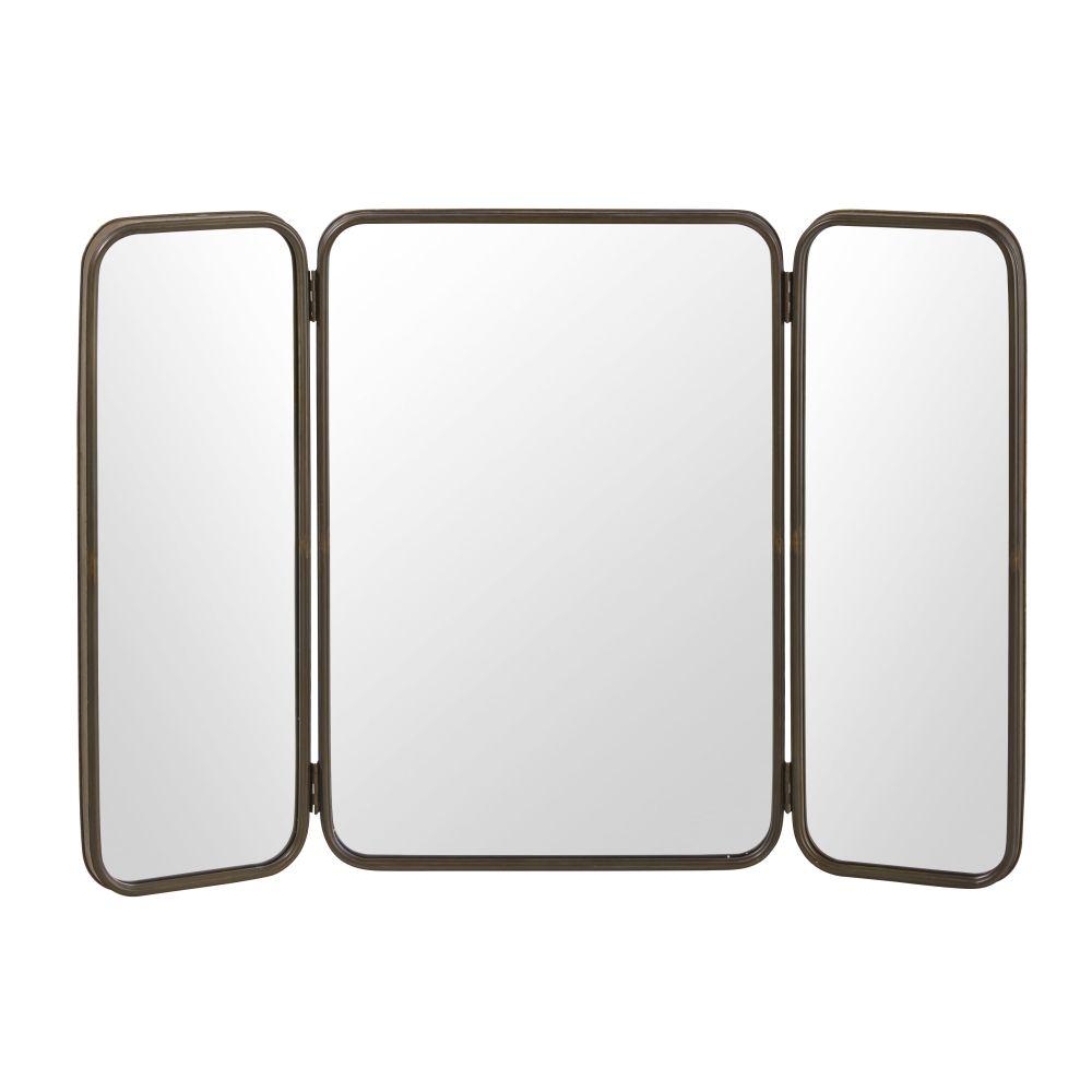 Dreigeteilter Spiegel mit schwarzem Metallrahmen 114x81