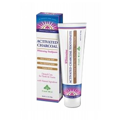 Activated Charcoal Whitening Toothpaste Fresh Mint 5.1 oz by Heritage Products