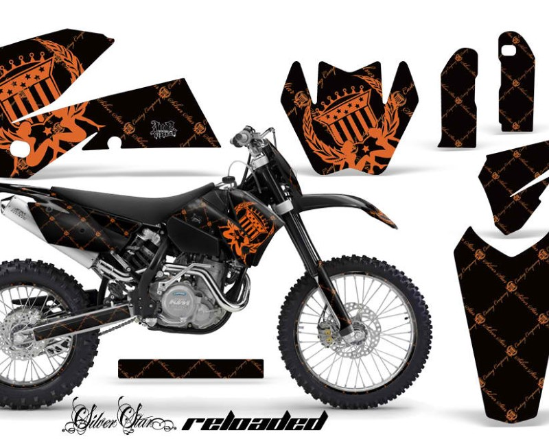 AMR Racing Graphics MX-NP-KTM-C4-05-07-SSR O K Kit Decal Wrap For KTM EXC/SX/MXC?/SMR/XCF-W 2005-2007áRELOADED ORANGE BLACK