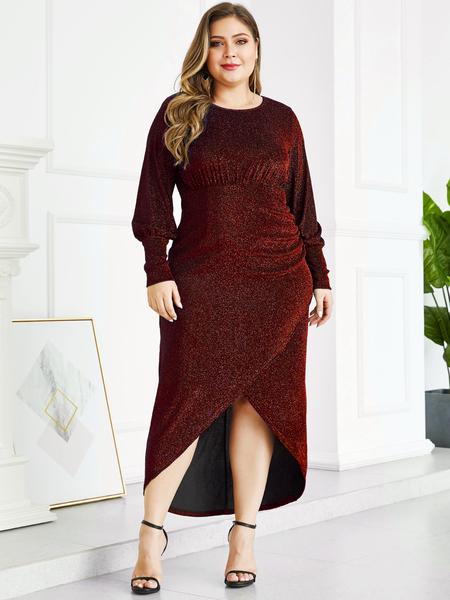 YOINS Plus Size Red Metallic Shine Party Dress