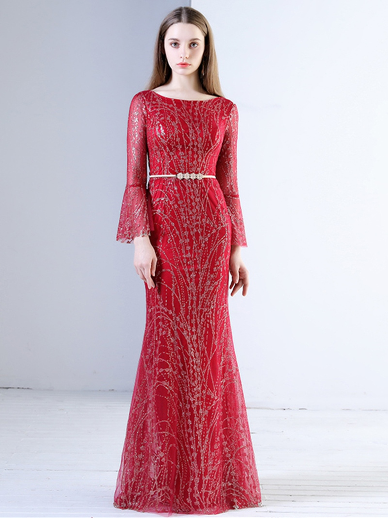 Ericdress Sheath A-Line 3/4 Sleeve Beaded Evening Dress In Floor-Length