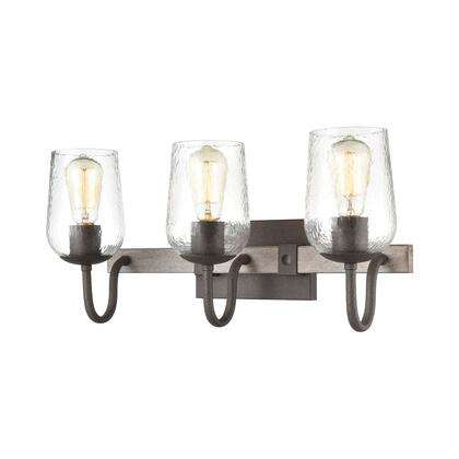 15372/3 Dillon 3-Light Vanity Light in Vintage Rust with Clear Hammered