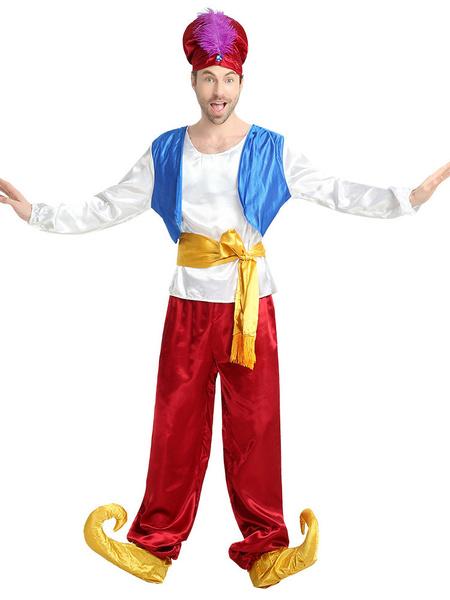 Milanoo Men Arabian Costume Carnival 5 Piece Costume Set