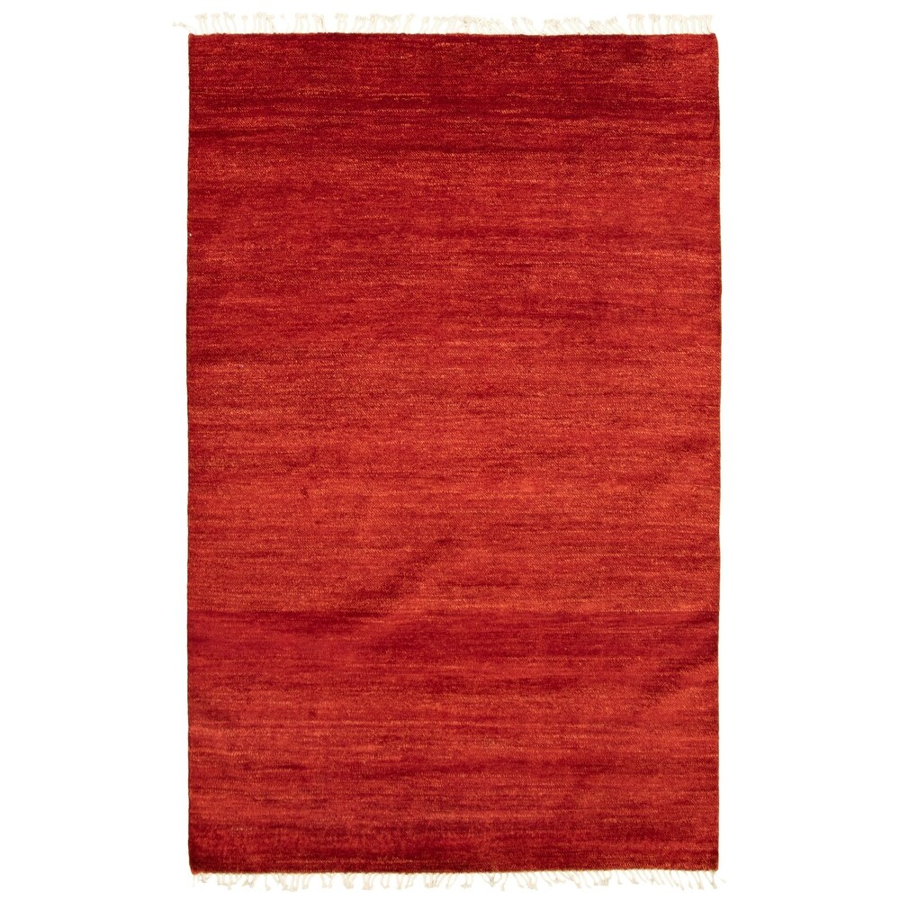 ECARPETGALLERY  Hand-knotted Pak Finest Gabbeh Red Wool Rug - 5'2 x 7'11 (Red - 5'2 x 7'11)