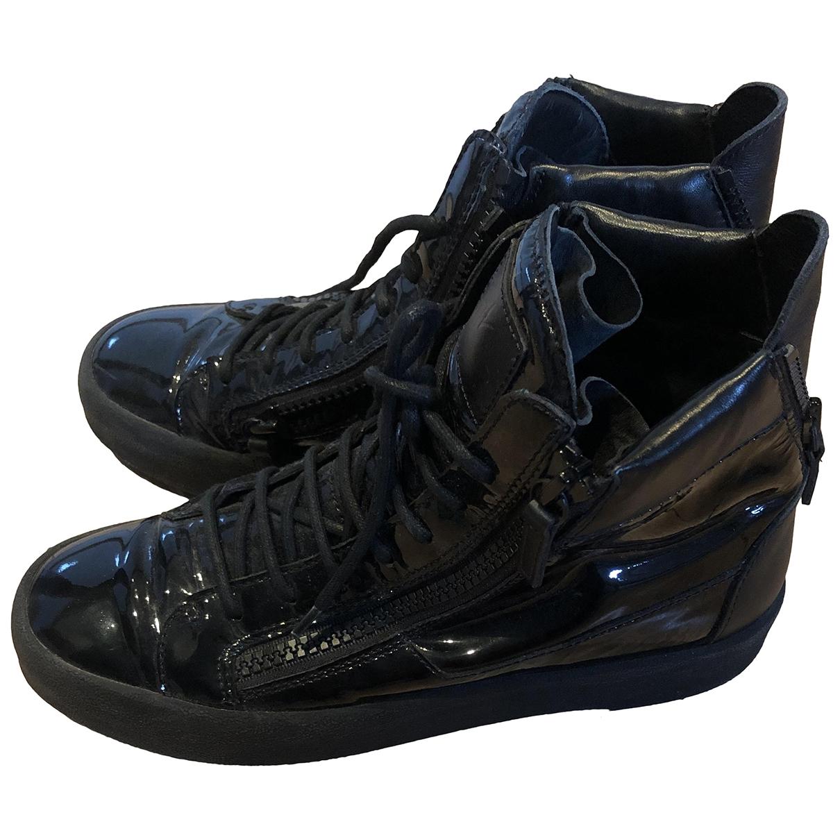 Giuseppe Zanotti - Baskets   pour homme en cuir verni - noir