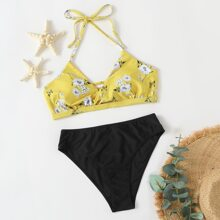 Floral Mix & Match Ruched Halter Bikini Swimsuit