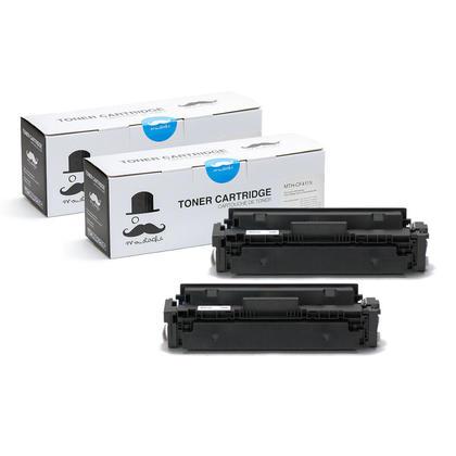 Compatible HP 410X CF411X cartouche de toner cyan haute capacite - Moustache - 2/paquet