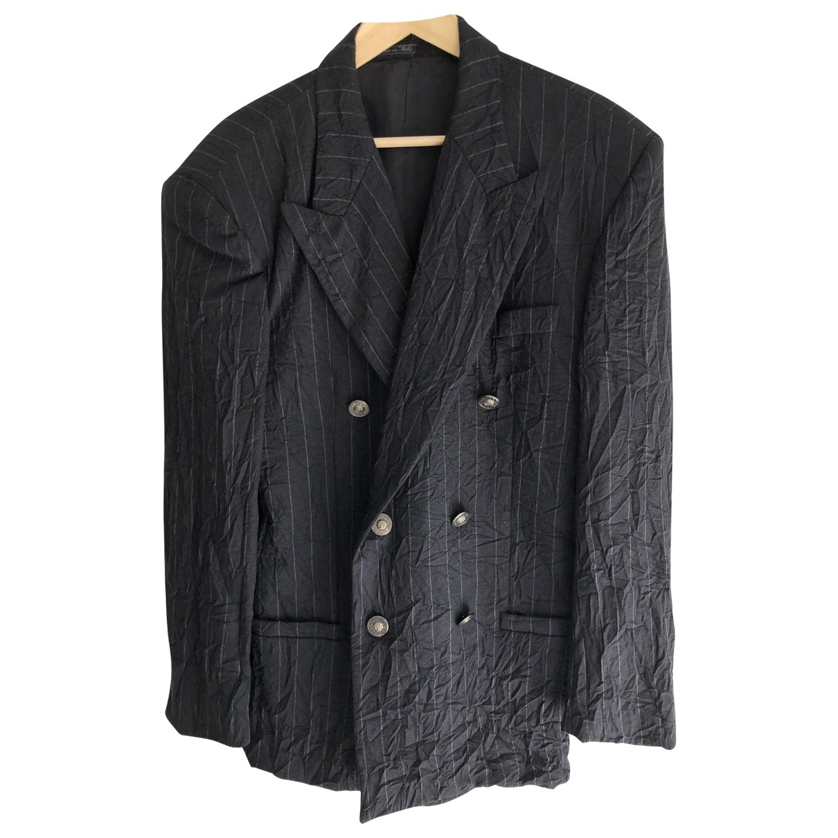 Gianni Versace \N Navy Linen jacket  for Men 48 IT