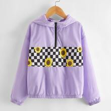 Girls Sunflower & Checked Print Windbreaker Jacket