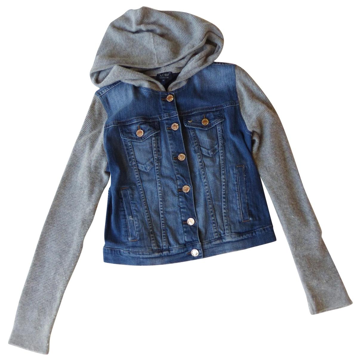 Armani Jeans \N Blue Denim - Jeans Leather jacket for Women 42 IT