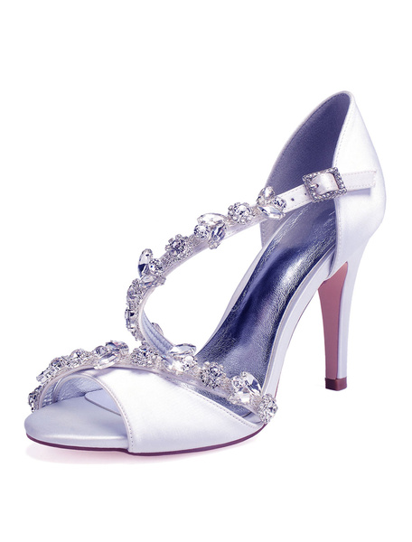 Milanoo Satin Wedding Shoes Red Peep Toe Rhinestones Strappy High Heel Bridal Sandals