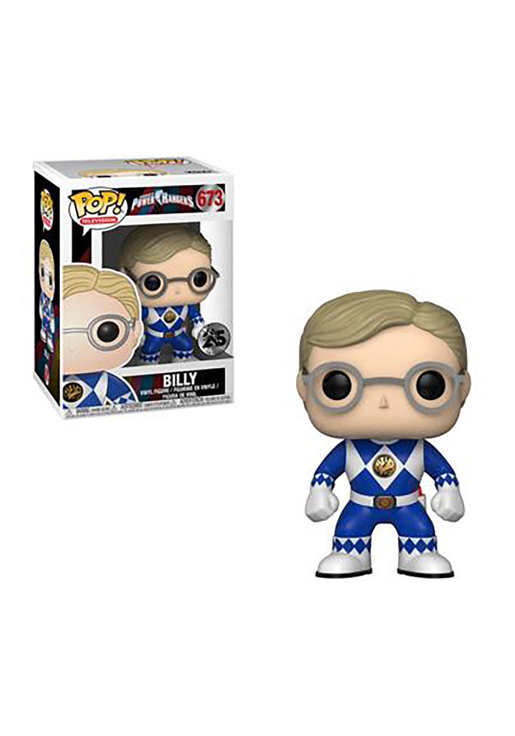 Pop! TV: Power Rangers- Blue Ranger Billy (No Helmet) Vinyl Figure