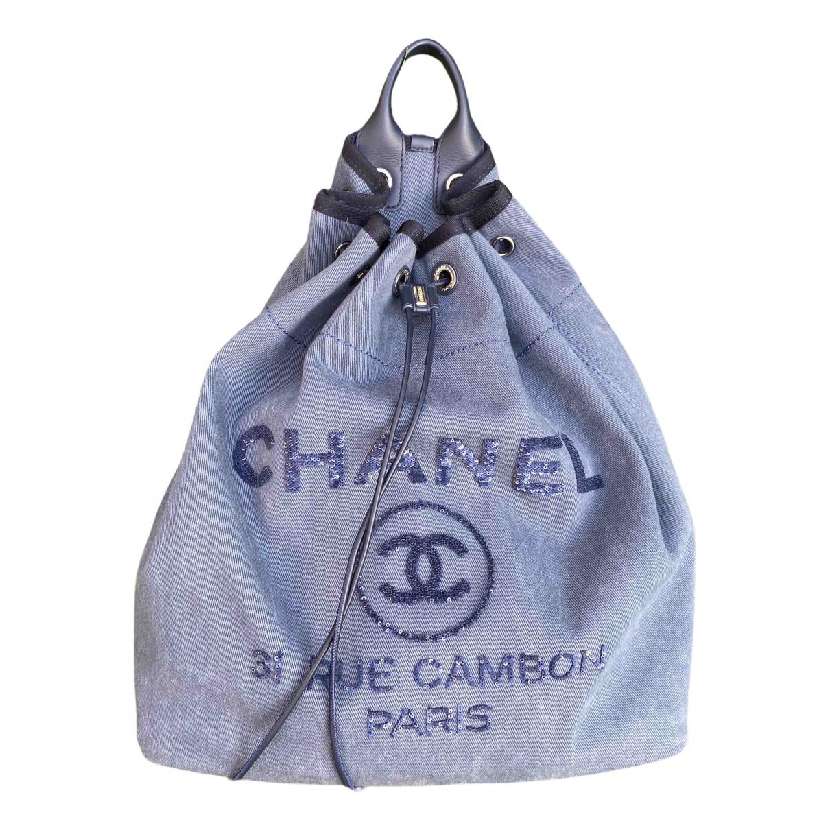 Chanel Deauville Rucksaecke in  Blau Denim - Jeans