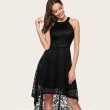 Dressystar High Low Hem Lace Halter Dress