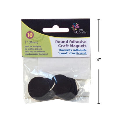Round Magnetic Discs with Adhesive Backing, 25mm Diameter, 10 Pieces