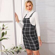 Maternidad vestido de cuadros con tira ajustada