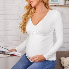 Maternidad camiseta girante delantero unicolor