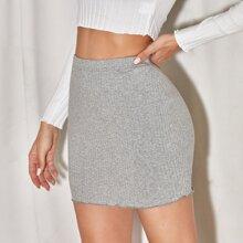 Lettuce Hem Rib-knit Skirt