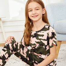 Girls Camo Print Pajama Set