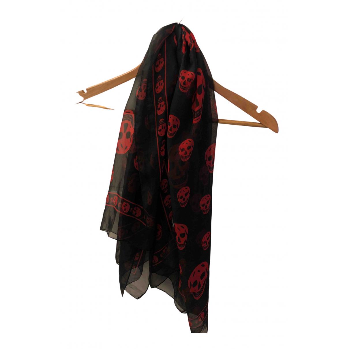 Alexander Mcqueen - Foulard   pour femme en soie - noir