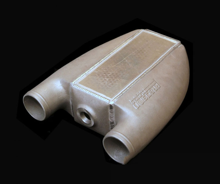 Precision Turbo & Engine PIN054-1001S PT1001 L2A Intercooler Cast Tanks Straight (Inlet/Outlet on Same End)