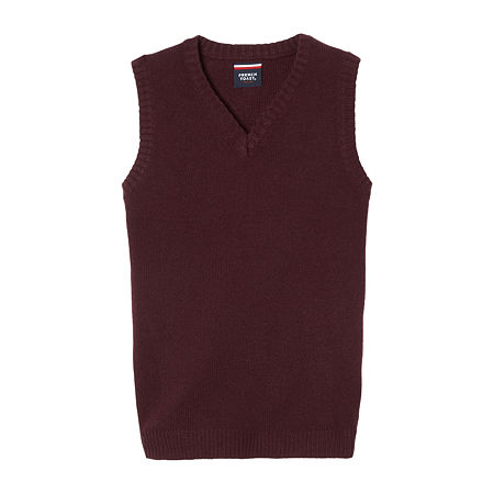 French Toast Little & Big Boys V Neck Sweater Vest, Small , Red