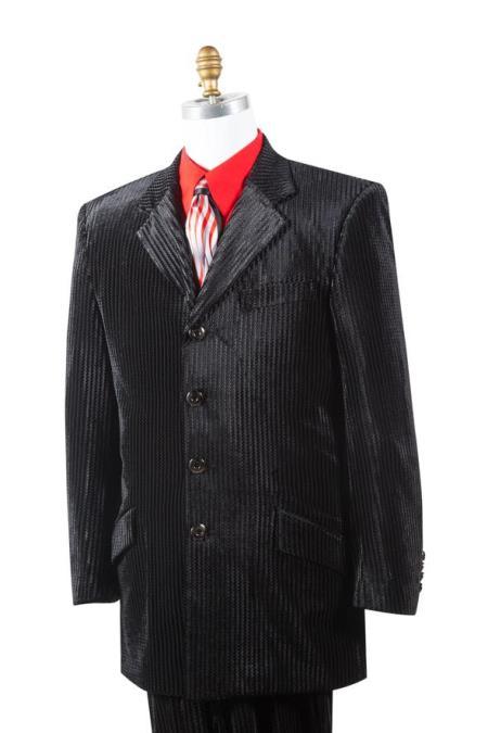 Mens Textured Velvet Black Zoot Suit Notch Lapel