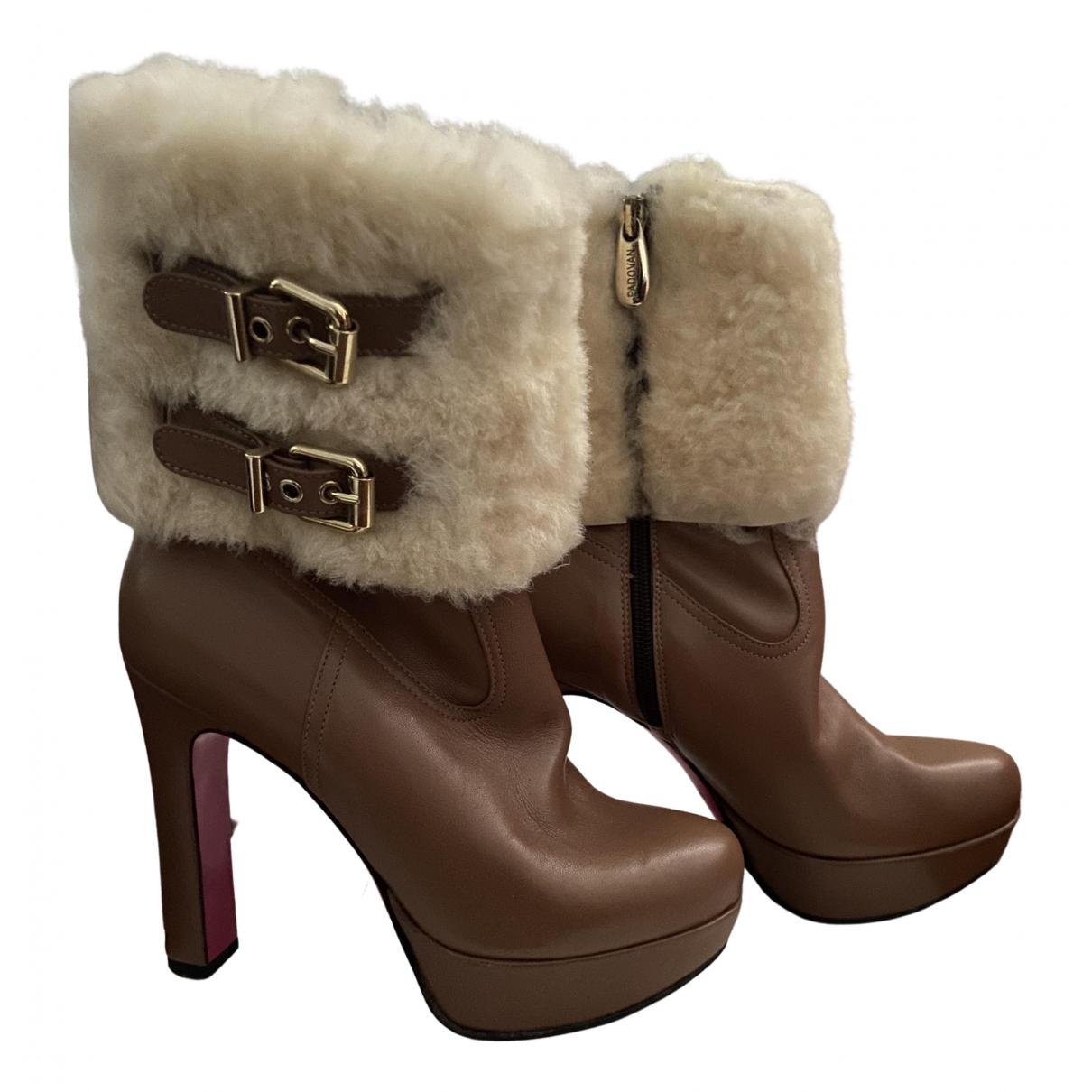 Luciano Padovan N Beige Shearling Ankle boots for Women 37.5 IT