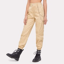Solid Pants With Chain