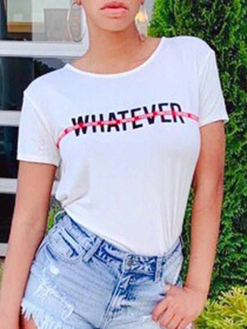Ericdress Letter Round Neck Casual T-Shirt