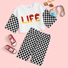 Girls Fire Letter & Checkered Print Top & Biker Shorts Set