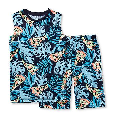 Arizona Little/ Big Kid Boys 2-pc. Shorts Pajama Set, X-large (18-20) , Blue